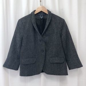 French Connection navy tweed short blazer 10